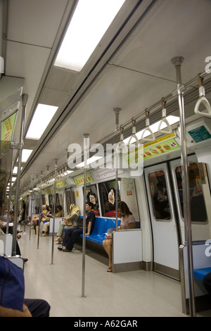 Interior of MRT - mass rapid transport - Singapores equivalent of the underground - Stock Photo