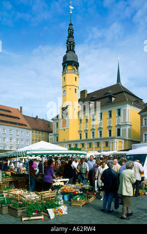 People at street market near town hall, Bautzen, Eponymous District, Saxony, Germany - Stock Photo