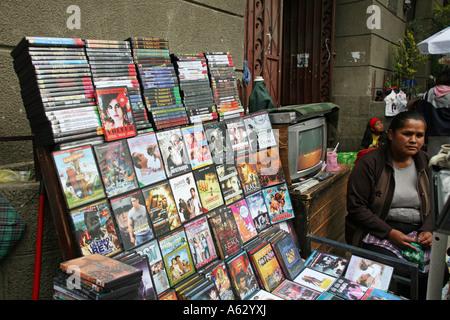 Pirate dvds for sale, street market, La Paz, Bolivia, South America - Stock Photo