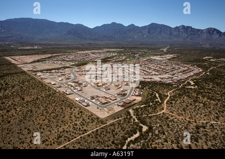 New towns, or developments like this one, are springing up in the desert around Tucson, Arizona, USA - Stock Photo