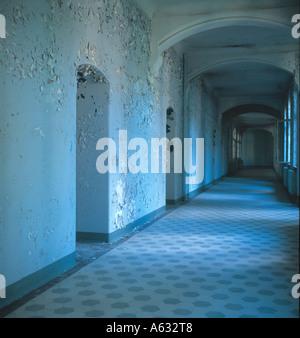 Peeling paint on wall of corridor, Brandenburg, Germany - Stock Photo
