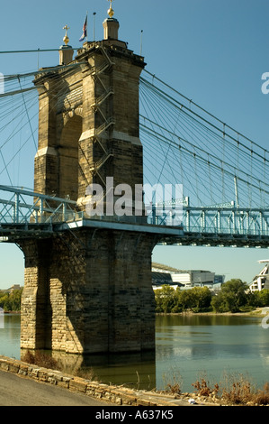 Roebling Suspension Bridge Crosses the Ohio River from Northern Kentucky into Downtown Cincinnati - Stock Photo