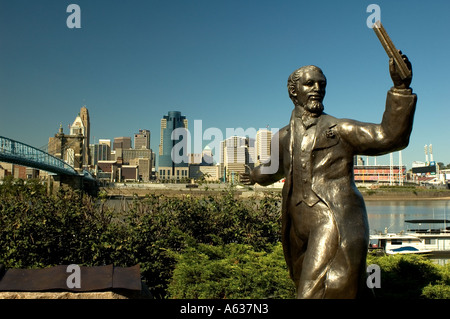 Statue of John Roebling by the Suspension Bridge which Crosses the Ohio River from Northern Kentucky into Downtown - Stock Photo