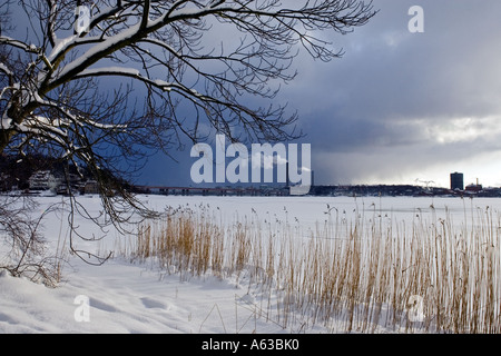 Winter view of Stockholm as seen from the island of Lidingö - Stock Photo