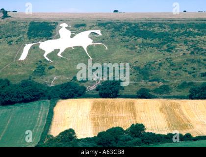 England Dorset Osmington white horse - Stock Photo