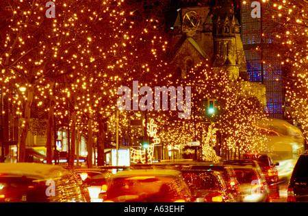 Traffic jam on road at night, Berlin, Germany - Stock Photo