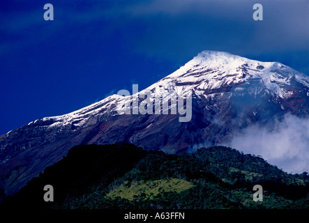 Tungurahua Volcano, view from city of Banos, Banos de Agua Santa, Tungurahua Province, Ecuador - Stock Photo