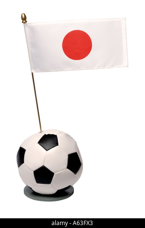 Football and Japan national flag trophy - Stock Photo