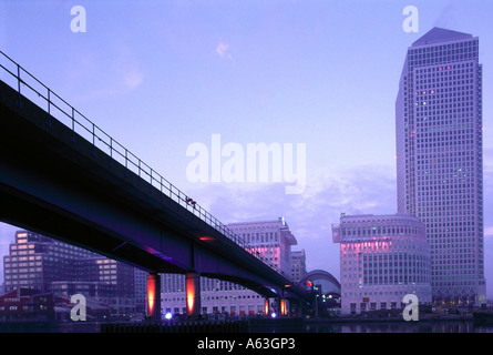 Bridge with buildings in background, Canary Wharf, London, England - Stock Photo
