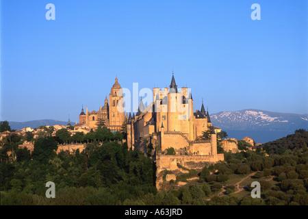 Castle on hill, Alcazar Castle, Sierra De Guadarrama, Segovia, Castilla Y Leon, Spain - Stock Photo