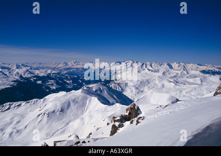 view from skiers area of davos parsenn to snow covered scenery swiss alpes canton of grisons switzerland - Stock Photo