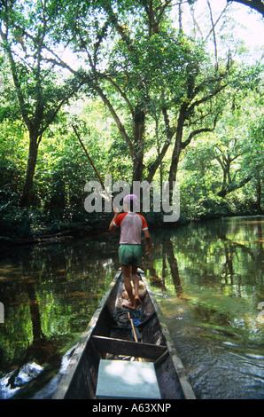infant boy fishing in jungle lagoon near city of kuching island of borneo state of sarawak malaysia - Stock Photo