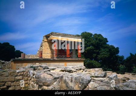 ruin site of minoan palace knossos island of crete greece - Stock Photo