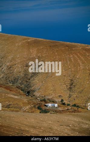 lonely house near settlement of antigua island of fuerteventura canary islands spain - Stock Photo