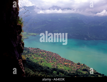 view from brienzer rothorn mountain railway to brienz and lake brienz region of bernese highland swiss alpes switzerland - Stock Photo