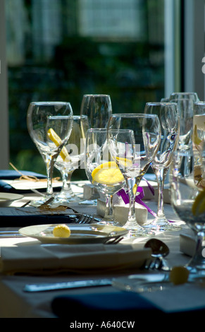 Elegant Table Settings At Wedding Banquet Reception, Philadelphia, USA - Stock Photo