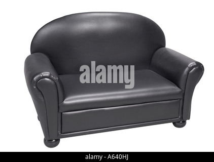 Black Leather Sofa Couch Love Seat Chair White Background Studio Still Life - Stock Photo