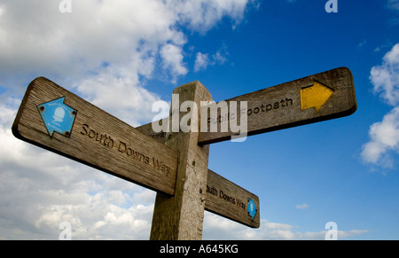 A South Downs Way signpost on top of a hill in East Sussex. Picture by James Hoathly. - Stock Photo