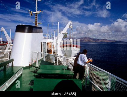 view from ferry to island of lanzarote canary islands spain - Stock Photo
