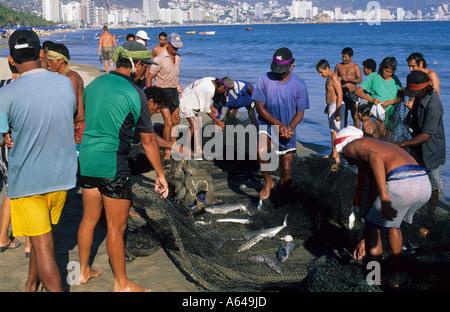 Mexico Guerrero Acapulco Playa Hornos Fishermen - Stock Photo