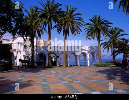 square and promenade of balcon de europa village of nerja costa del sol region of andalucia spain - Stock Photo