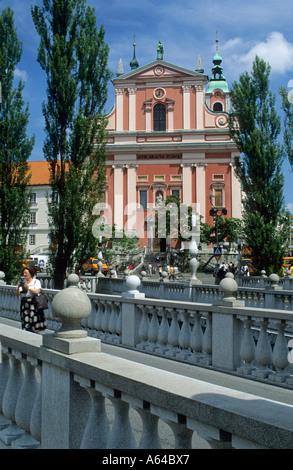 Preseren square, old houses and the franciscan church along the Ljubljanica, Ljubljana, Slovenia - Stock Photo