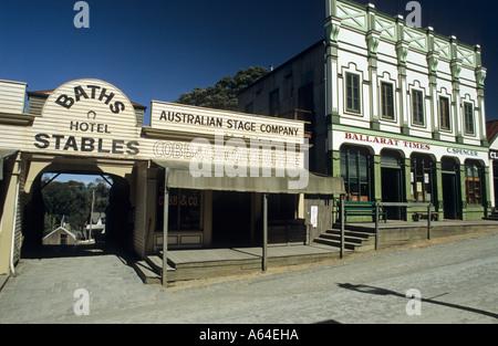 Main street in Sovereign Hill, Ballarat, Victorian Goldfields, Victoria, AUS - Stock Photo