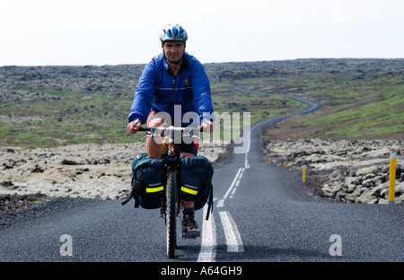 Carl Galvin Mountain Biking in Iceland during the Bike Iceland Mountain Biking Exprdition - Stock Photo