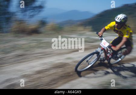PICTURES CREDIT DOUG BLANE Competitor in the Himalayan Mountain Bike Race Kathmandu Himalayan Kingdom of Nepal - Stock Photo