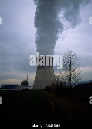nuclear power plant of leibstadt at evening canton of aargau switzerland editorial use only - Stock Photo