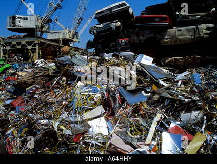 piled car wrecks and aluminum scrap at recycling scrap yard switzerland - Stock Photo