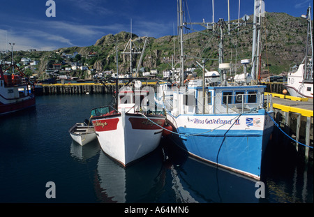 Houses and fishing boats in the harbor of St John´s, Newfoundland - Stock Photo