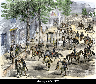 Confederate cavalry ransacking New Windsor Maryland during the US Civil War. Hand-colored woodcut - Stock Photo