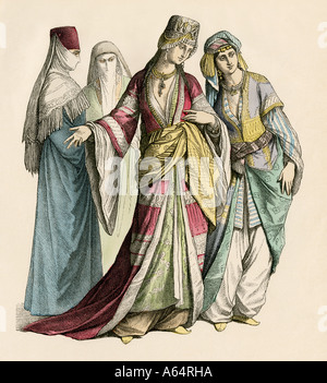 Turkish women in their fine dresses. Hand-colored print - Stock Photo