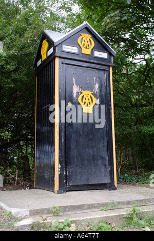 An old AA phone box by the roadside in Norfolk - Stock Photo