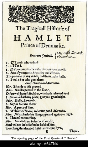 Opening page of Hamlet from Shakespeare First Quarto. Woodcut with a watercolor wash - Stock Photo