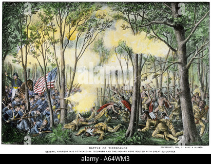 Battle of Tippecanoe in which William Henry Harrison defeated Tecumseh and his Native American warriors 1811. Hand - Stock Photo