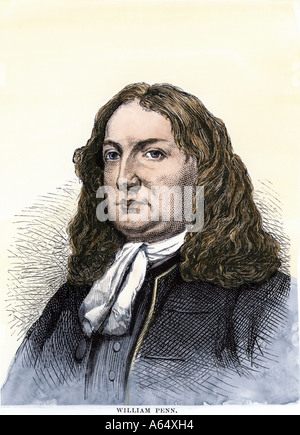 William Penn. Hand-colored woodcut - Stock Photo