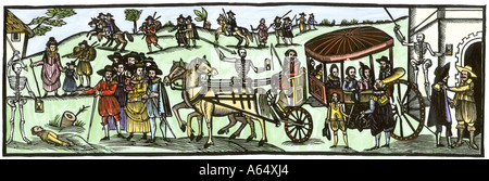 Townspeople fleeing to the countryside to escape the Plague in England 1630. Hand-colored woodcut - Stock Photo