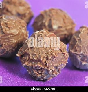 Hand-made chocolate truffles - Stock Photo