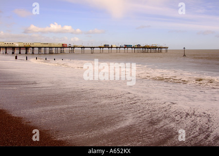 Fantastic early morning on the foreshore at Teignmouth South Devon with the Pier in the background and blue sky - Stock Photo