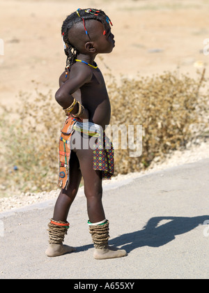 A young girl from Angola at Opuwo an important administrative centre of the Himba - Stock Photo