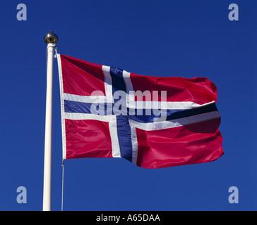 Norwegian flag, Norway - Stock Photo