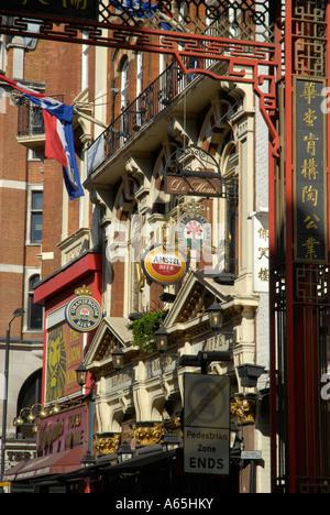 The famous De Hems Dutch pub in Macclesfield Street Chinatown London - Stock Photo