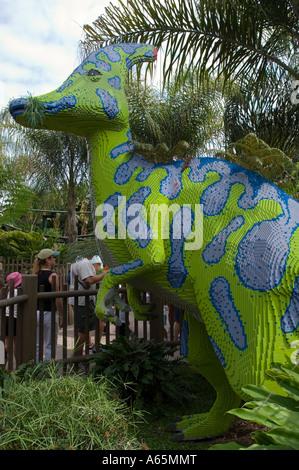 Lego Dinosaur at Dino Island LegoLand tourist amusement attraction in Carlsbad San Diego County California - Stock Photo