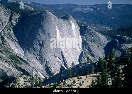 Quarter Domes, from Olmsted Point, Tioga Pass Road, Yosemite National Park, CALIFORNIA - Stock Photo