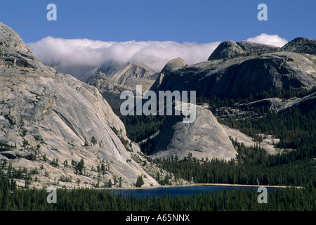 Storm front over the High Sierra crest above Tenaya Lake Tioga Pass Road Yosemite Nat l Park CALIFORNIA - Stock Photo