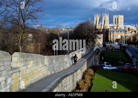 York City Walls with York Mister in the Background - Stock Photo