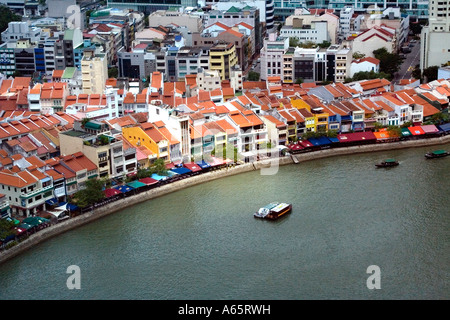 Chinese Shophouses on Boat Quay Singapore - Stock Photo