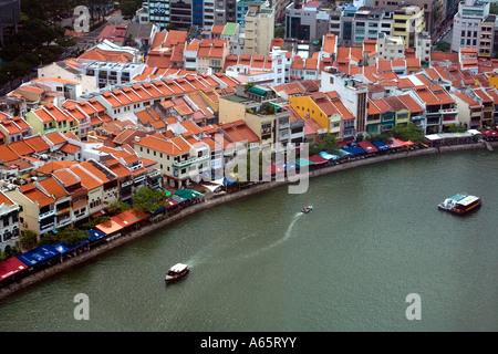 Chinese Shophouses on Boat Quay Singapore - Stock Photo